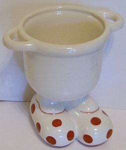 Carlton Ware Lustre Pottery Walking Ware 'Big Foot' Toothbrush Holder - Red Spot